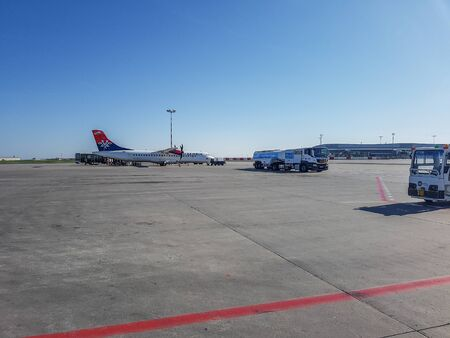 Prague, The Czech Republic, 22.4.2019: Plane from Air Serbia at the airport in Prague. 報道画像