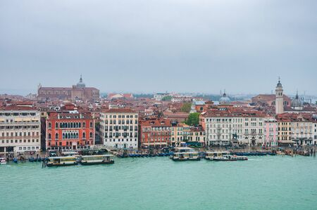 Venice, Italy, 23.4.2019: Panora aerial cityscape of Venice, Veneto, Italy. Panorama view from sea to histrical town.