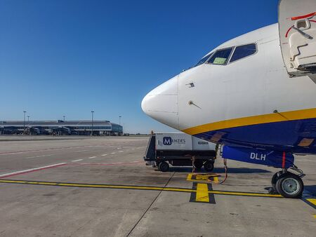 Prague, The Czech Republic, 22.4.2019: Plane Ryanair at the airport in Prague.