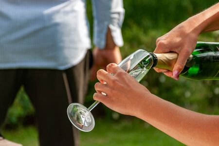 Wedding toast. bottles of champagne and wine glasses for wedding toast. Imagens