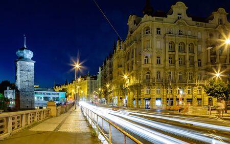 Night panorama of Prague city centre. Long time exposure of night city. 写真素材