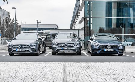 Prague, The Czech Republic, 1.9.2019: Luxury Mercedes Benz cars parked in row in front of car dealership Mercedes Benz. View to row of parked cars. Éditoriale