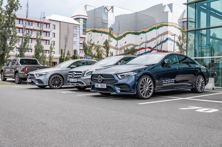 Prague, The Czech Republic, 1.9.2019: Luxury Mercedes Benz CLS in blue, parked in front of car dealership Mercedes Benz. New CLS amg Éditoriale