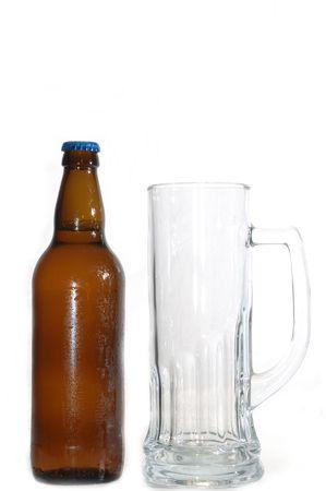 tankard: beer bottle and mug isolated on white Stock Photo