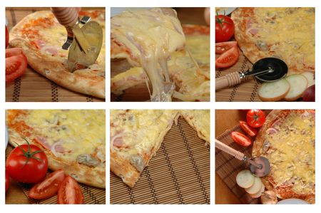 collage of different pizza pictures photo
