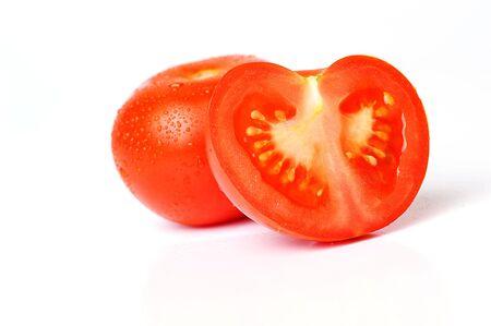 maccheroni: sliced tomato close up on white Stock Photo