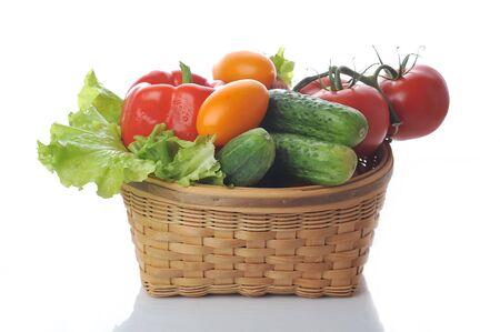 vegetables in the basket close up
