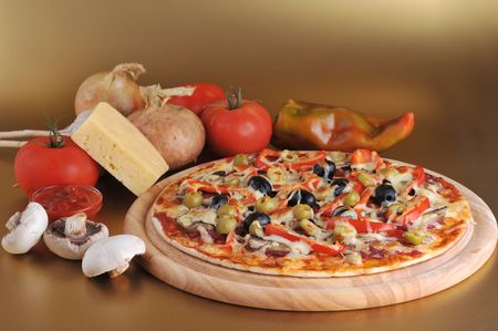 frankfurters: fresh baked pizza with pepperoni olives and peppers