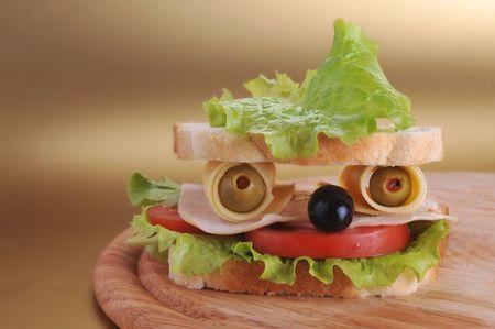 fresh sandwich looks like face Stock Photo - 5704853