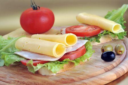 turkey bacon: fresh and tasty sandwich ready to eat Stock Photo