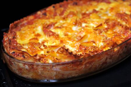just baked lasagna ready to eat photo