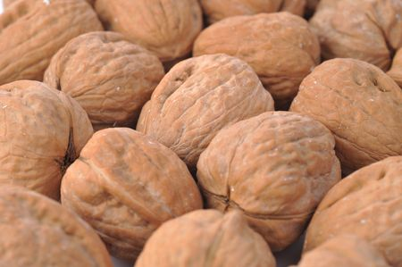many walnuts very close up  photo