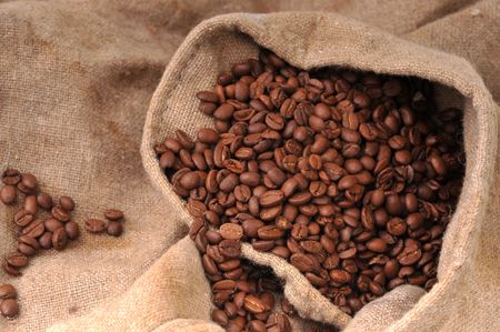 Many coffee grains on rough fabric photo