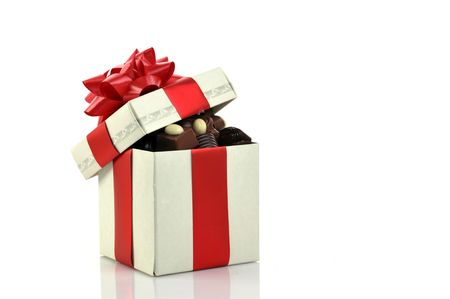 different chocolate in gift box  with copy space Stock Photo - 5705174