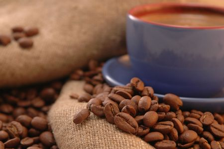 coffee beans cup with coffee old bag and sugar Stock Photo - 5704752