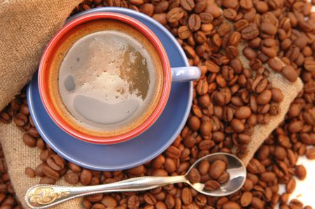 coffee beans cup with coffee old bag and spoon Stock Photo - 5704649