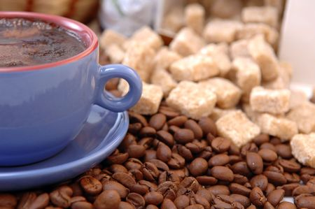 coffee beans, sugar and cup with coffee Stock Photo - 5704531