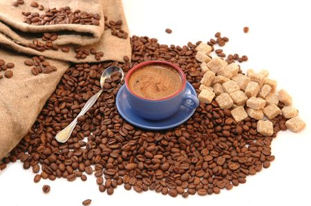 coffee beans cup with coffee and old bag Stock Photo - 5704651