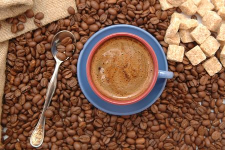 coffee beans cup with coffee old bag and sugar Stock Photo - 5704846