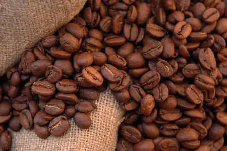 coffee beans and old bag close up Stock Photo - 5704873