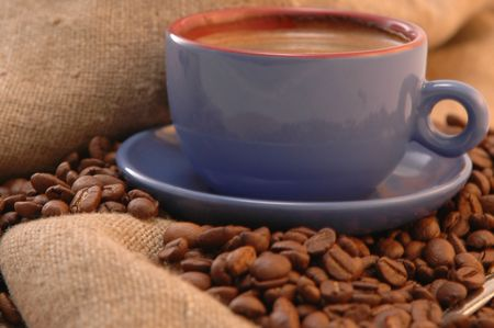 coffee beans cup with coffee old bag and sugar Stock Photo - 5704656