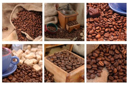 coffee grinder with coffee beans and cup. collage photo