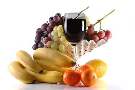 different fruits and glass of wine on white Stock Photo - 5712128