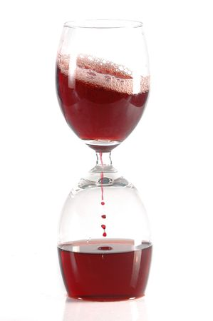 glases: hourglass from two glases of red wine Stock Photo