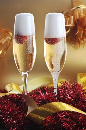 two glass with sparkling champagne photo