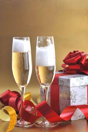 Champagne glasses on  celebratory table Stock Photo - 5724642