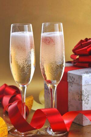 Champagne glasses on  celebratory table Stock Photo - 5724647
