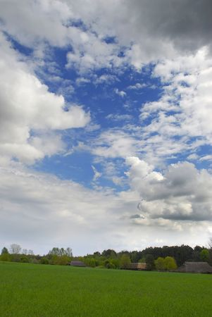 beautiful apring landscape with blue sky and nice clouds photo
