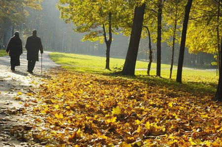 pensioners walking in the park photo