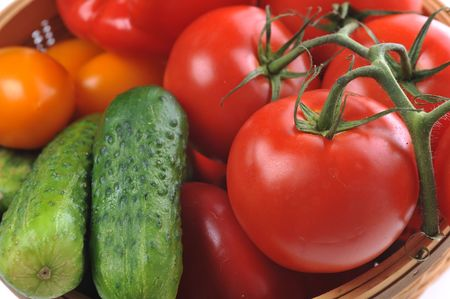 bountiful: vegetables in the basket close up