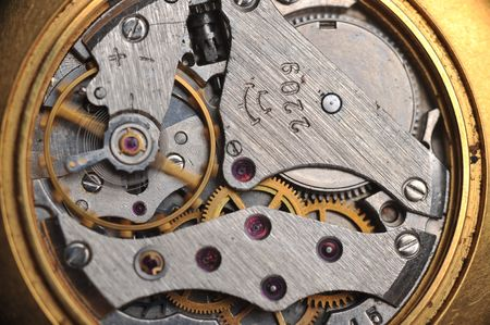 maker: old watch gears very close up Stock Photo