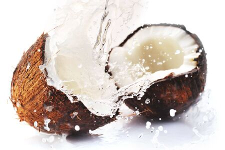 cracked coconut with big splash photo