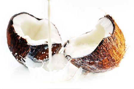cracked coconut with big splash photo