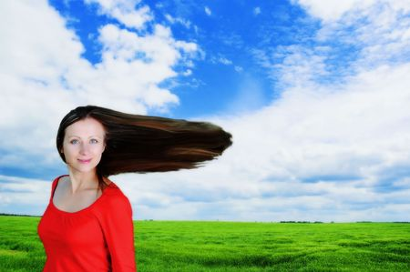 woman having fun in the fields with Stock Photo - 6510602