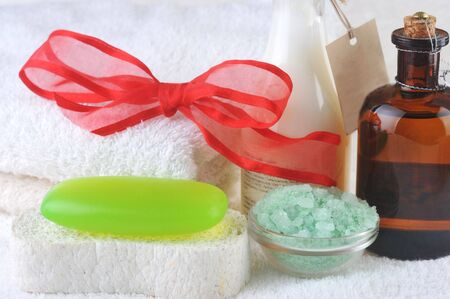 spa oil, salt and soap close up Stock Photo - 5972162