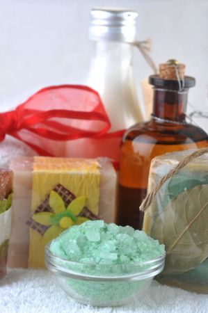 spa oil, salt and soap close up photo