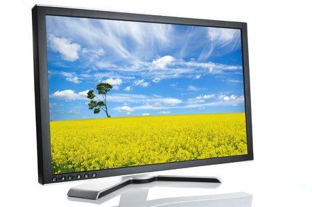 black monitor on white background Stock Photo - 6011577
