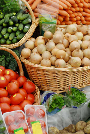 many different ecological vegetables on market table Stock Photo - 6083223