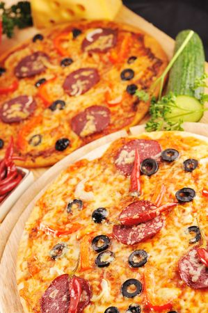 Tasty pizza  and various vegetables close up Stock Photo - 6125444