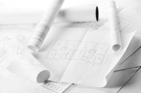 heap of design and project drawings on  table  background. Stock Photo - 6266204