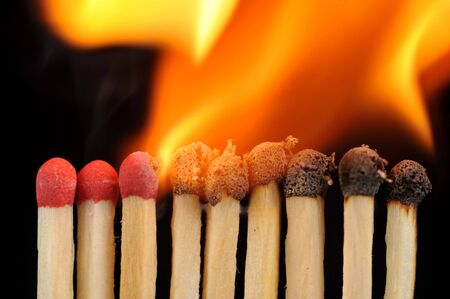 row from burning matches close up