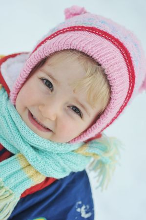 Happy little girl in winter portrait Stock Photo - 6420758