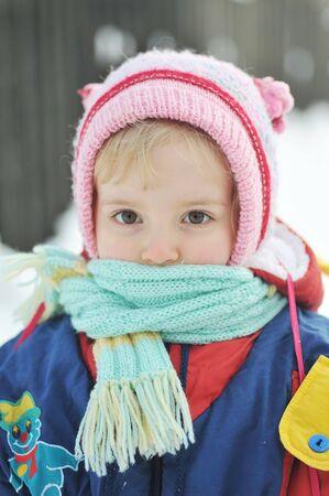 Happy little girl in winter portrait Stock Photo - 6420756