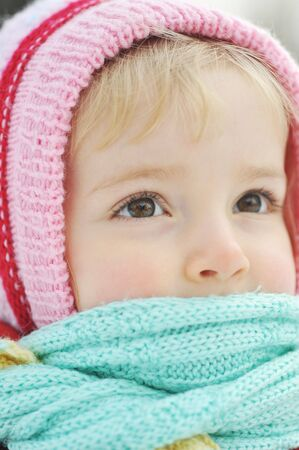 Happy little girl in winter portrait Stock Photo - 6420761