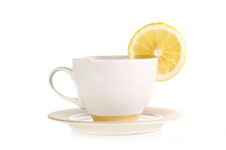 full cup of tea with lemon and sugar Stock Photo - 6492088
