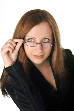 businesswoman in black jacket with glasses photo
